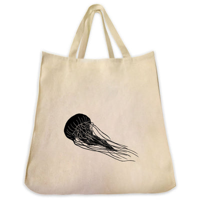 Re-usable Tote Bag - Jellyfish Silhouette Design Extra Large Eco Friendly Reusable Cotton Canvas Tote Bag