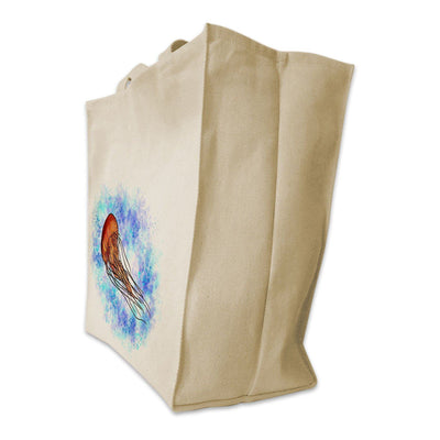 Re-usable Tote Bag - Jellyfish With Ocean Background Design Extra Large Eco Friendly Reusable Cotton Canvas Tote Bag