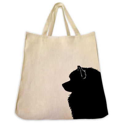 Re-usable Tote Bag - Keeshond / Keeshound Silhouette Extra Large Eco Friendly Reusable Cotton Canvas Tote Bag