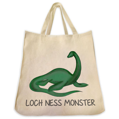 Re-usable Tote Bag - Loch Ness Monster Color Full Body Design Extra Large Eco Friendly Reusable Cotton Canvas Tote Bag