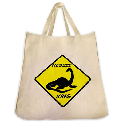 Re-usable Tote Bag - Loch Ness Monster Silhouette Full Body Design Extra Large Eco Friendly Reusable Cotton Canvas Tote Bag