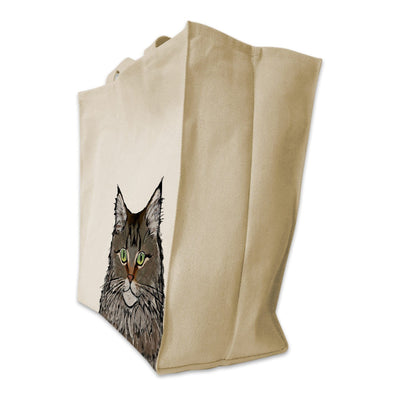 Re-usable Tote Bag - Maine Coon Cat Extra Large Eco Friendly Reusable Cotton Canvas Tote Bag