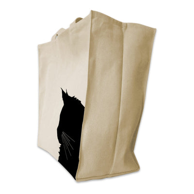 Re-usable Tote Bag - Maine Coon Cat Silhouette Extra Large Eco Friendly Reusable Cotton Canvas Tote Bag