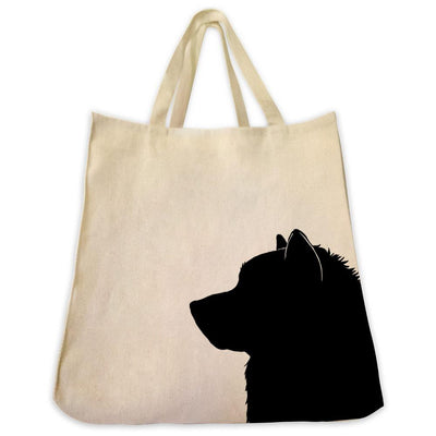 Re-usable Tote Bag - Malamute Silhouette Extra Large Eco Friendly Reusable Cotton Canvas Tote Bag
