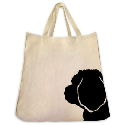 Re-usable Tote Bag - Maltese Silhouette Extra Large Eco Friendly Reusable Cotton Canvas Tote Bag