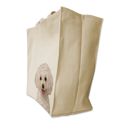 Re-usable Tote Bag - Maltipoo Dog Color Portrait Design Extra Large Eco Friendly Reusable Cotton Canvas Tote Bag