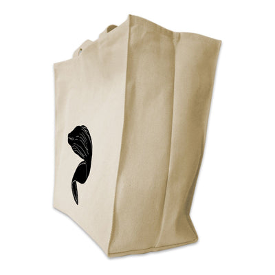 Re-usable Tote Bag - Moray Eel Silhouette Design Extra Large Eco Friendly Reusable Cotton Canvas Tote Bag