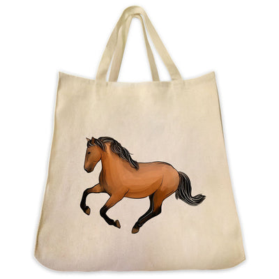 Re-usable Tote Bag - Mustang Horse Extra Large Eco Friendly Reusable Cotton Canvas Tote Bag
