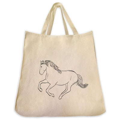 Re-usable Tote Bag - Mustang Horse Outline Design Extra Large Eco Friendly Reusable Cotton Canvas Tote Bag