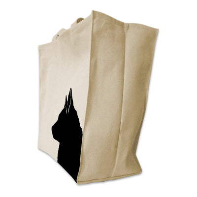 Re-usable Tote Bag - Norweigen Elkhound Silhouette Extra Large Eco Friendly Reusable Cotton Canvas Tote Bag