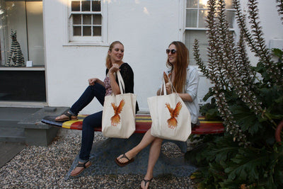 Re-usable Tote Bag - Orange Phoenix Color Full Body Design Extra Large Eco Friendly Reusable Cotton Canvas Tote Bag