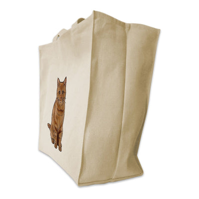 Re-usable Tote Bag - Orange Tabby Cat Design Extra Large Eco Friendly Reusable Cotton Canvas Tote Bag