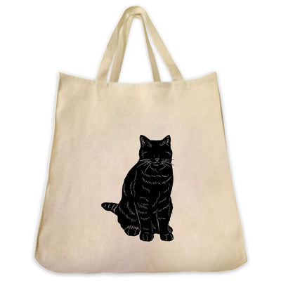 Re-usable Tote Bag - Orange Tabby Cat Silhouette Design Extra Large Eco Friendly Reusable Cotton Canvas Tote Bag
