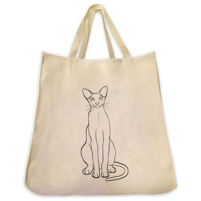Re-usable Tote Bag - Oriental Shorthair Cat Outline Design Extra Large Eco Friendly Reusable Cotton Canvas Tote Bag