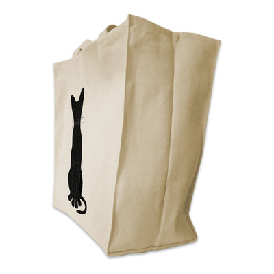 Re-usable Tote Bag - Oriental Shorthair Cat Silhouette Design Extra Large Eco Friendly Reusable Cotton Canvas Tote Bag