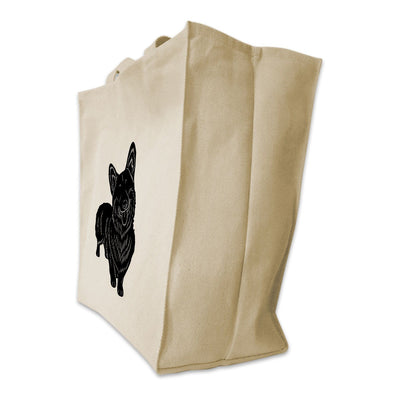 Re-usable Tote Bag - Pembroke Welsh Corgi Silhouette Full Body Design Extra Large Eco Friendly Reusable Cotton Canvas Tote Bag