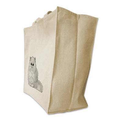 Re-usable Tote Bag - Persian Cat Design Extra Large Eco Friendly Reusable Cotton Canvas Tote Bag