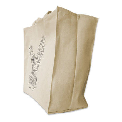 Re-usable Tote Bag - Phoenix Outline Full Body Design Extra Large Eco Friendly Reusable Cotton Canvas Tote Bag