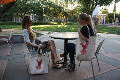 Re-usable Tote Bag - Pink Phoenix Color Full Body Design Extra Large Eco Friendly Reusable Cotton Canvas Tote Bag