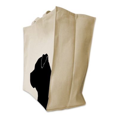 Re-usable Tote Bag - Pit Bull Silhouette Extra Large Eco Friendly Reusable Cotton Canvas Tote Bag
