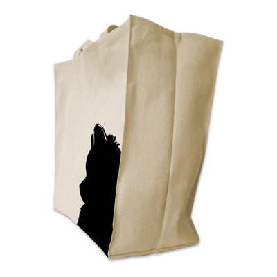 Re-usable Tote Bag - Pomeranian Silhouette Portrait Design Extra Large Eco Friendly Reusable Cotton Canvas Tote Bag