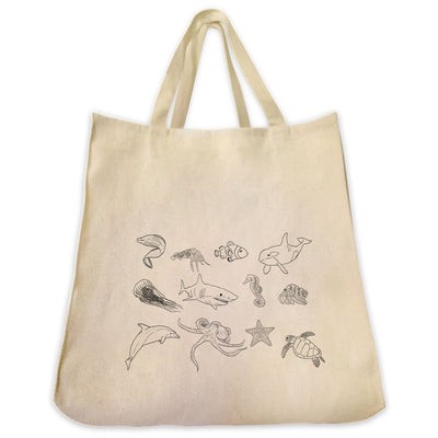 Re-usable Tote Bag - Popular Ocean Creatures Outline Design Extra Large Eco Friendly Reusable Cotton Canvas Tote Bag