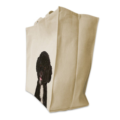 Re-usable Tote Bag - Portuguese Water Dog Color Portrait Design Extra Large Eco Friendly Reusable Cotton Canvas Tote Bag