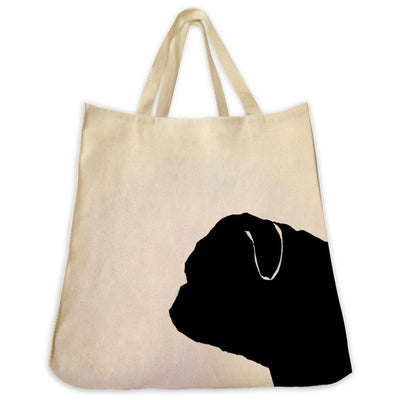 Re-usable Tote Bag - Pug Silhouette Extra Large Eco Friendly Reusable Cotton Canvas Tote Bag