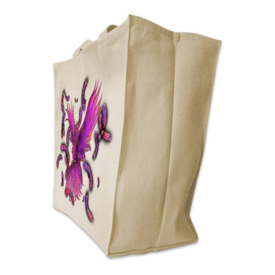 Re-usable Tote Bag - Purple Phoenix Color Full Body Design Extra Large Eco Friendly Reusable Cotton Canvas Tote Bag