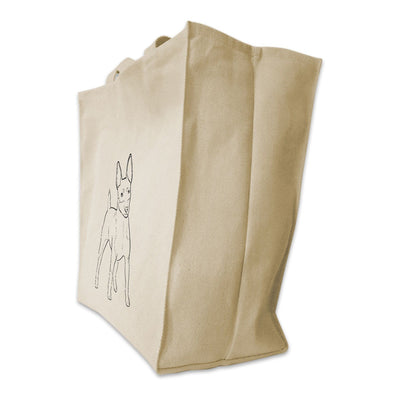 Re-usable Tote Bag - Rat Terrier Outline Design Extra Large Eco Friendly Reusable Cotton Canvas Tote Bag