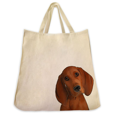 Re-usable Tote Bag - Red Coon Hound Dog Extra Large Eco Friendly Reusable Cotton Canvas Tote Bag