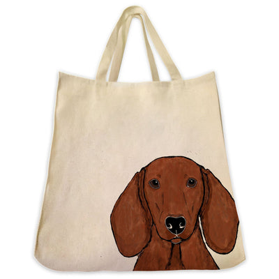 Re-usable Tote Bag - Red Dachshund Wiener Dog Color Portrait Extra Large Eco Friendly Reusable Cotton Canvas Tote Bag