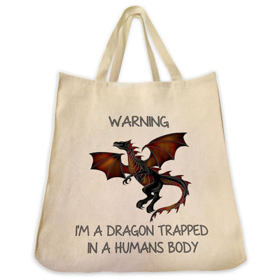 "Re-usable Tote Bag - Red Dragon Color Full Body ""Warning..."" Design Extra Large Eco Friendly Reusable Cotton Canvas Tote Bag"