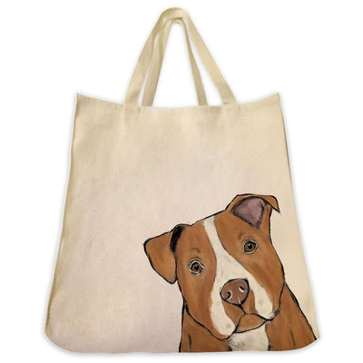 Re-usable Tote Bag - Red Nose Pit Bull Color Portrait Design Extra Large Eco Friendly Reusable Cotton Canvas Tote Bag