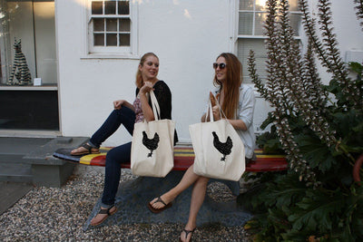 Re-usable Tote Bag - Rhode Island Red Chicken Silhouette Full Body Design Extra Large Eco Friendly Reusable Cotton Canvas Tote Bag