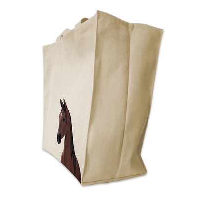 Re-usable Tote Bag - Saddlebred Portrait Illustration Extra Large Eco Friendly Reusable Cotton Canvas Tote Bag