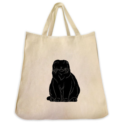 Re-usable Tote Bag - Scottish Fold Cat Silhouette Design Extra Large Eco Friendly Reusable Cotton Canvas Tote Bag