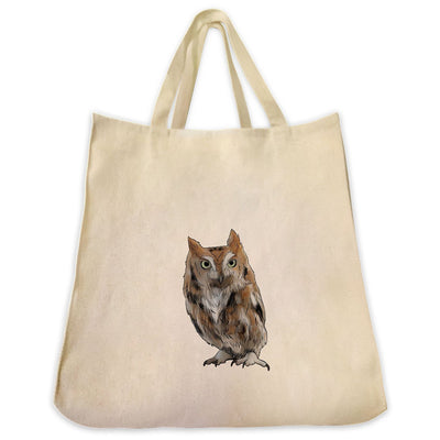 Re-usable Tote Bag - Screech Owl Design Extra Large Eco Friendly Reusable Cotton Canvas Tote Bag