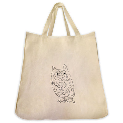 Re-usable Tote Bag - Screech Owl Outline Design Extra Large Eco Friendly Reusable Cotton Canvas Tote Bag