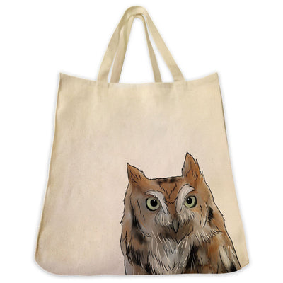 Re-usable Tote Bag - Screech Owl Portrait Design Extra Large Eco Friendly Reusable Cotton Canvas Tote Bag