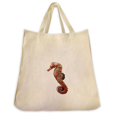 Re-usable Tote Bag - Sea Horse Extra Large Eco Friendly Reusable Cotton Canvas Tote Bag