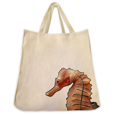 Re-usable Tote Bag - Sea Horse Portrait Design Extra Large Eco Friendly Reusable Cotton Canvas Tote Bag