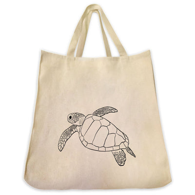 Re-usable Tote Bag - Sea Turtle Outline Design Extra Large Eco Friendly Reusable Cotton Canvas Tote Bag