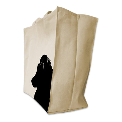 Re-usable Tote Bag - Sheltie Silhouette Cotton Extra Large Eco Friendly Reusable Cotton Canvas Tote Bag