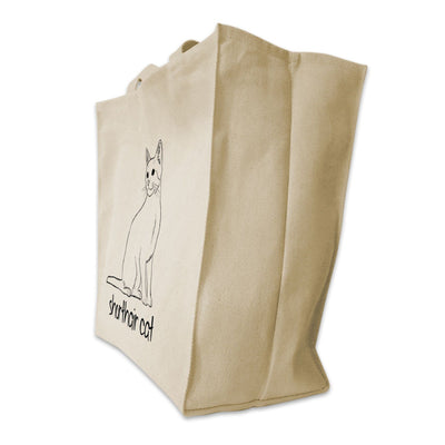 Re-usable Tote Bag - Shorthair Cat Outline Design Extra Large Eco Friendly Reusable Cotton Canvas Tote Bag