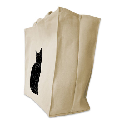 Re-usable Tote Bag - Siamese Cat Silhouette Design Extra Large Eco Friendly Reusable Cotton Canvas Tote Bag