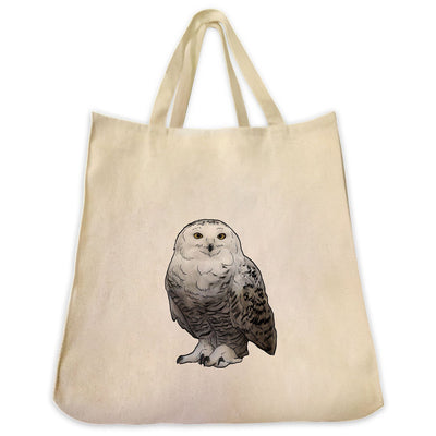Re-usable Tote Bag - Snow Owl Design Extra Large Eco Friendly Reusable Cotton Canvas Tote Bag