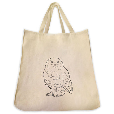 Re-usable Tote Bag - Snow Owl Outline Design Extra Large Eco Friendly Reusable Cotton Canvas Tote Bag