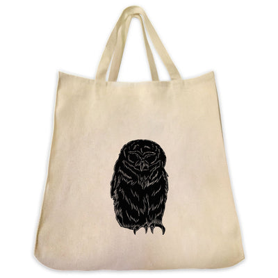 Re-usable Tote Bag - Spectacled Owl Silhouette Design Extra Large Eco Friendly Reusable Cotton Canvas Tote Bag