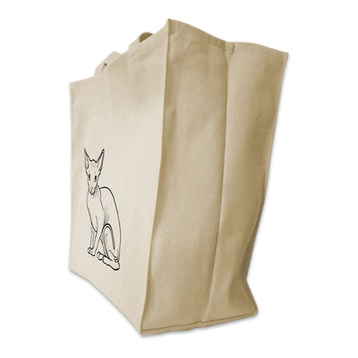 Re-usable Tote Bag - Sphynx Cat Outline Design Extra Large Eco Friendly Reusable Cotton Canvas Tote Bag